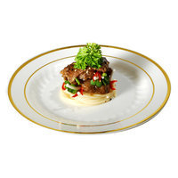 Fineline Settings, Inc Silver Splendor Plate (Pack of 120), 9 W x 9 D, Bone with Gold Accent