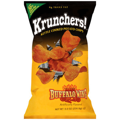 Krunchers!® Kettle Cooked Potato Chips Hot Buffalo Wing Artificially Flavored 8 oz Bag
