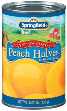 Springfield Yellow Cling In Heavy Syrup Peach Halves 15.25 Oz Can