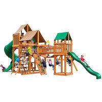 Gorilla Playsets Playground Equipment. Treasure Trove with Amber Posts and Sunbrella Weston Ginger Canopy Cedar Playset
