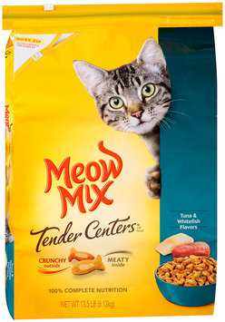 Meow Mix Tender Centers Tuna & Whitefish Flavors Dry Cat Food, 13.5-Pound