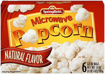 Springfield® Microwave Popcorn Natural Flavor 6-3.5 oz Bags.