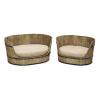 Benzara 69243 Classic Style Pet Bed Set With Handmade Wood