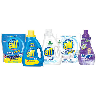 All™ Laundry Detergent with Stainfighters & Snuggle® Fabric Softener Exhilarations White Lavender & Sandalwood® Group Shot