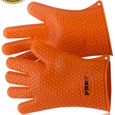 Pbkay Silicone Heat Resistant Gloves, Oven Mitts, Pot Holder, BBQ Cooking (pair) , Heatproof Up To 425F