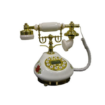 ORE International Classic Telephone - White with Red Rose Design