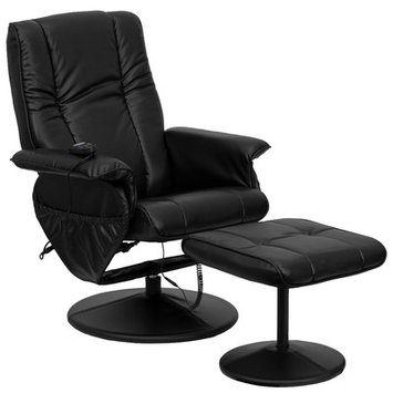 Symple Stuff Leather Heated Reclining Massage Chair with Ottoman