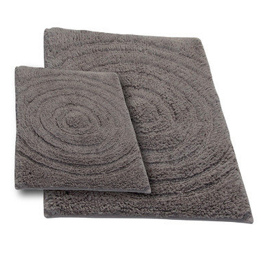 Textile Decor Castle 2 Piece 100% Cotton Echo Spray Latex Bath Rug Set, 24 H X 17 W and 40 H X 24 W, Stone