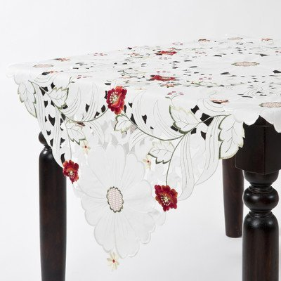 Saro Embroidered and Cutwork 84-inch Square Tablecloth