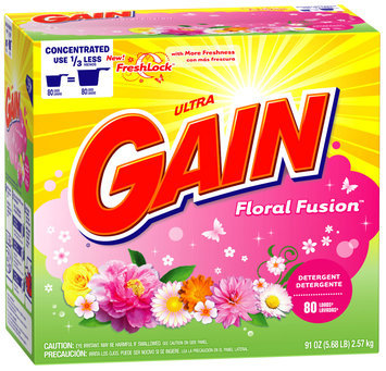 Gain with FreshLock Floral Fusion Powder Detergent 91 oz. Carton