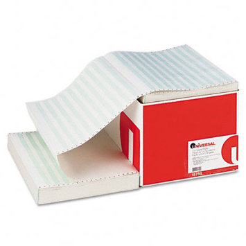 Universal Recycled Green Bar Computer Paper, 14-7/8 x 11, Perforated Margins, 2800 Sheets