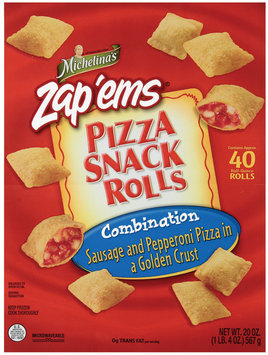 MICHELINA'S SNACK ROLLS Combination Sausage & Pepperoni Pizza Snack Rolls 20 OZ BAG