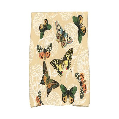 August Grove Sun Valley Antique Butterflies and Flowers Print Hand Towel Color: Gold