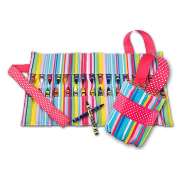 Princess Linens 160P Doodlebugz Pink Striped Crayon Keeper