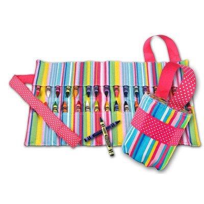 Princess Linens 160P Doodlebugz Pink Striped Crayon Keeper