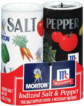 Morton Iodized 4 Oz Shakers Salt & Pepper 2 Pk Wrapper