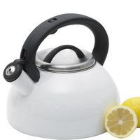 Creative Home Rio 11-Cup Tea Kettle with Stainless Steel in White Enamel 77042