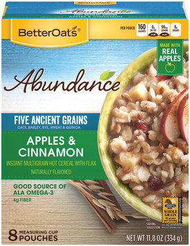Better Oats® Abundance® Apples & Cinnamon Instant Multigrain Hot Cereal with Flax 8 ct Pouches