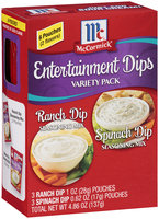 McCormick® Entertainment Dips Variety Pack Ranch/Spinach 6 ct Pouches