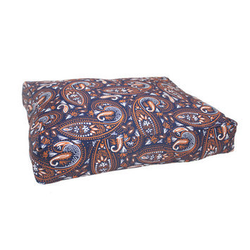 Divine Designs Mosaic Paisley Dog Bed, Small - 26 L x 20 W, Navy Blue