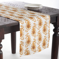 Saro Mustard Color Print Table Runner