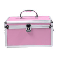 Soozier 4 Drawer Diamond Texture Makeup Train Case Color: Pink