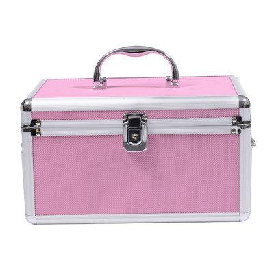 Soozier 4 Drawer Diamond Texture Makeup Train Case Color: Pink