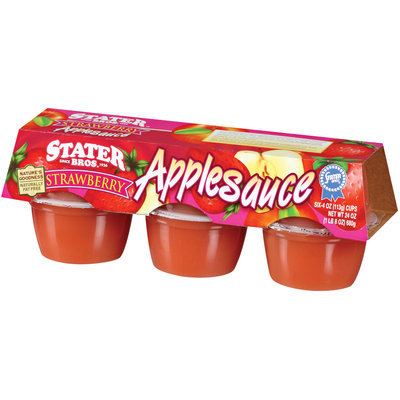 Stater Bros. Strawberry 4 Oz Applesauce 6 Pk Cup