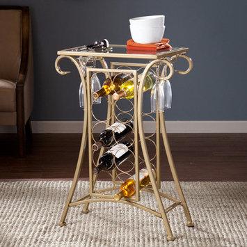 Alcott Hill Herbert 10 Bottle Floor Wine Rack Finish: Gold