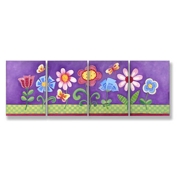 Stupell Industries Kids Room Triptychs Floral Wall Plaques