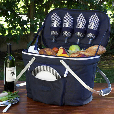 Picnic at Ascot - Collapsible Insulated Picnic Basket for Four - Navy