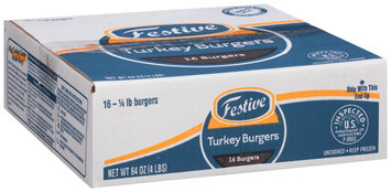 Festive 1/4 lb. Turkey Burgers 64 oz. Box
