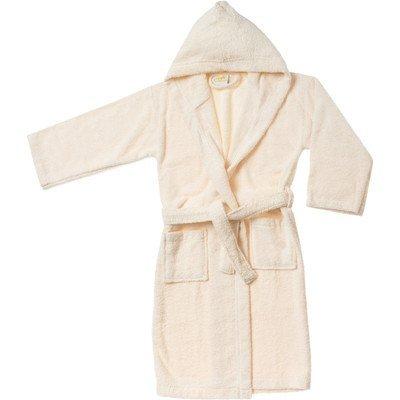 Simple Luxury Egyptian Cotton Kids Hooded Bathrobe, Large, Ivory