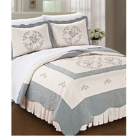 Bnf Home Inc. Gray Floral Embroidered Microfiber Bedding Set