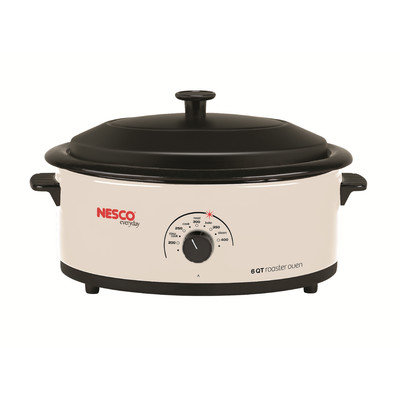 Nesco® 6-qt. Ivory Roaster with Porcelain Cookwell & Glass Lid