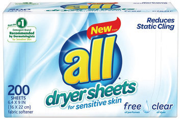 all® free clear Dryer Sheets for Sensitive Skin 200 ct. Box
