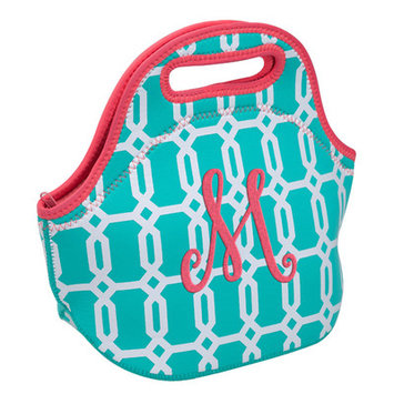 Occasionally Made Turquoise Geometric 'M' Insulated Lunch Bag