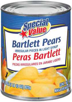 Special Value Bartlett In Light Syrup Pears 29 Oz Can