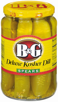 B&G Kosher Dill Deluxe Spears W/Whole Spices Pickles 24 Oz Jar