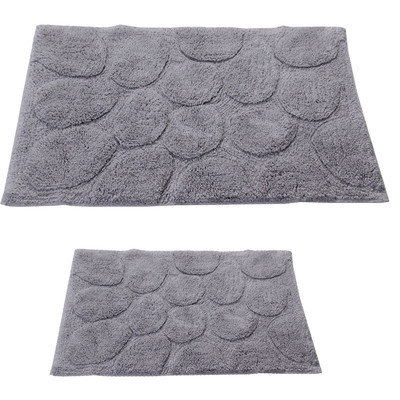 Textile Decor Castle 2 Piece 100% Cotton Palm Spray Bath Rug Set, 24 H X 17 W and 34 H X 21 W, Silver