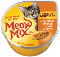 Meow Mix Savory Morsels with Real Chicken Breast in Gravy Wet Cat Food, 2.75-Ounce Cup