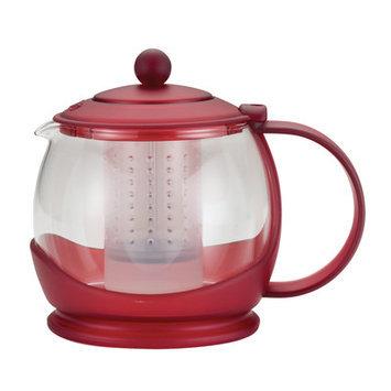 BonJour Prosperity 42-Ounce Glass Teapot, Rosehip Red