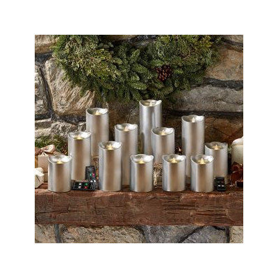 Two's Company 15 Piece Flameless Pillar Candle Set Color: Silver
