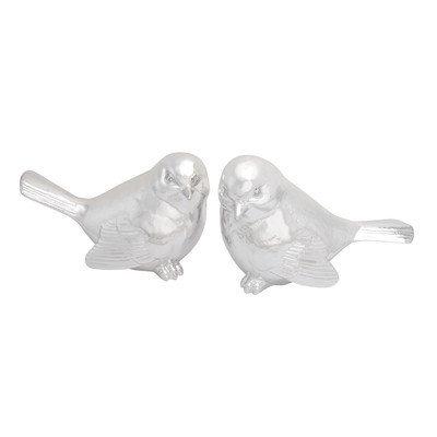 Benzara 76459 Polystone Silver Plate Bird Set of 2