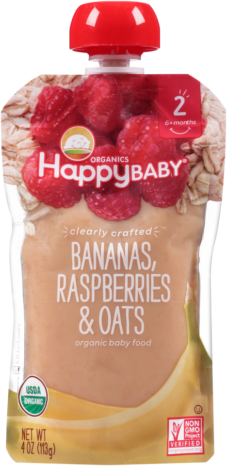 Happy Baby® Organics Bananas, Raspberries & Oats 4 oz. Pouch