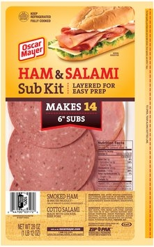 Oscar Mayer Ham & Salami Cold Cuts Sub Kit 28 oz. ZIP-PAK®