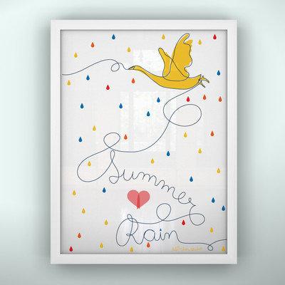 Littlelion Studio Prints Summer Rain Unframed Art Color: Yellow