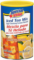 Special Value Sugar Sweetened Lemon Flavor Iced Tea Mix 74.2 Oz Canister