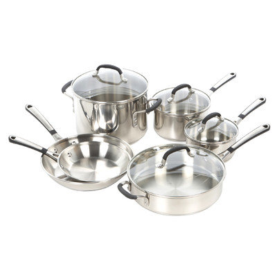 Calphalon Simply Stainless Steel Cookware, 10 Piece Set