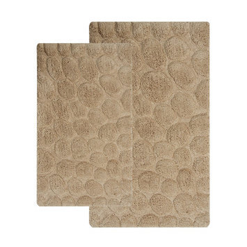 Saffron Fabs 2 Piece Bath Rug Set Color: Beige